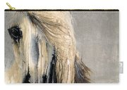 White Horse On Silver Leaf Carry-all Pouch