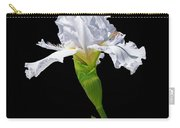 White Iris On Black Background Carry-all Pouch