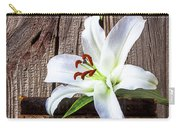 White Lily On Antique Books Carry-all Pouch