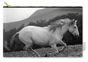 White Mare Gallops #1 -  Close Up Black And White Carry-all Pouch