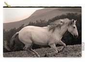 White Mare Gallops #1 -  Close Up Sepia Carry-all Pouch