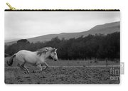 White Mare Gallops #1 - Panoramic Black And White Carry-all Pouch