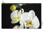 White Orchid On Black Bw Carry-all Pouch