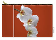 White Orchids On Terracotta Vdertical Carry-all Pouch