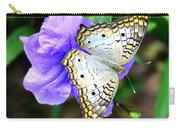 White Peacock Butterfly On Purple 2 Carry-all Pouch