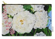 White Peony Garden Carry-all Pouch