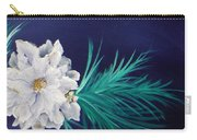 White Poinsettia On Blue Carry-all Pouch