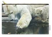 White Polar Bear With Baby Carry-all Pouch