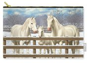 White Quarter Horses In Snow Carry-all Pouch by Crista Forest