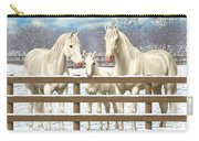 White Quarter Horses In Snow Carry-all Pouch