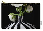 White Ranunculus In Black And White Vase Carry-all Pouch