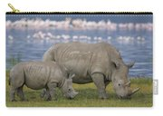 White Rhino Mother And Calf Grazing Carry-all Pouch by Ingo Arndt