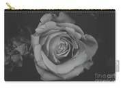 White Rose In Black And White Carry-all Pouch