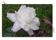White Rose In Rain Carry-all Pouch