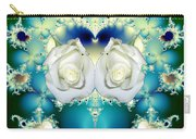 White Roses  And Blue Satin Bouquet Fractal Abstract Carry-all Pouch