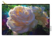 White Roses In The Garden - Backlit Flowers - Summer Rose Carry-all Pouch
