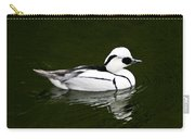 White Smew  Duck On Silver Pond Carry-all Pouch
