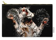 White Tiger Jumping In Water Carry-all Pouch