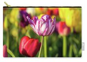 White Tulip Flower With Pink Stripes Carry-all Pouch