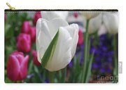 White Tulip With A Green Stripe In A Garden Carry-all Pouch