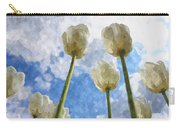 White Tulips And Cloudy Sky Digital Watercolor Carry-all Pouch