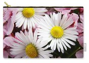 White Yellow Daisy Flowers Art Prints Pink Blossoms Carry-all Pouch