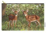 Whitetail Deer Twin Fawns Carry-all Pouch by Crista Forest