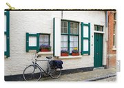 Whitewashed Brick House With Green Trimmed Shutters In Bruges Carry-all Pouch