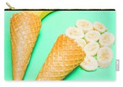 Whole Bannana And Slices Placed In Ice Cream Cone Carry-all Pouch