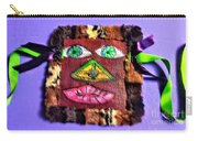 Wide Eyed Loup Garou Mardi Gras Screen Mask Carry-all Pouch
