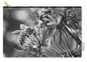 Wild Aster And Honey Bee Bw Carry-all Pouch