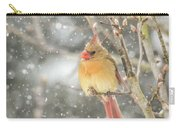 Wild Birds Of Winter - Female Cardinal In The Snow Carry-all Pouch