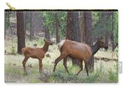 Wild Elk Baby And Mom Carry-all Pouch