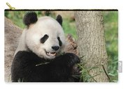 Wild Panda Bear Eating Bamboo Shoots While Leaning Against A Tre Carry-all Pouch