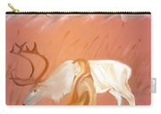 Wild Reindeer And Young Woman Becoming Friends - Poetic Painting Carry-all Pouch