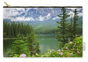 Wild Roses And Mountain Lake In Jasper National Park Carry-all Pouch