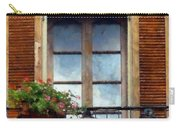 Window Shutters And Flowers I Carry-all Pouch