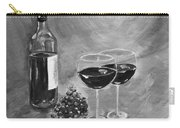 Wine On My Canvas - Black And White - Wine For Two Carry-all Pouch