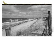 Winter Beach View - Black And White Carry-all Pouch