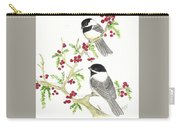 Winter Chickadees And Berries Carry-all Pouch