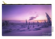 Winter Evening Landscape With Forest, Sunset And Cloudy Sky.  Carry-all Pouch
