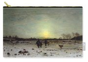 Winter Landscape At Sunset Carry-all Pouch by Ludwig Munthe