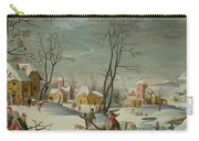 Winter Landscape Of A Village Carry-all Pouch