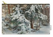 Winter Landscape With Hunters And Dogs Carry-all Pouch