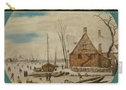Winter Landscape With Skaters And A Farm House Carry-all Pouch