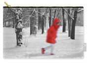 Winter Landscape With Walking Gir In Red. Blac White Concept Gra Carry-all Pouch