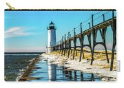 Winter Reflection At Manistee Light Carry-all Pouch