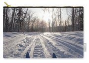 Winter Sport X-country Skis In Sunny Forest Tracks Carry-all Pouch