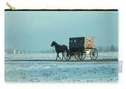 Winter Sun On Amish Buggy Carry-all Pouch