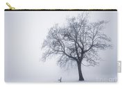 Winter Tree And Bench In Fog Carry-all Pouch